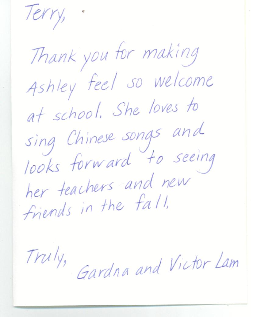 thank you card from parent joanne derek max